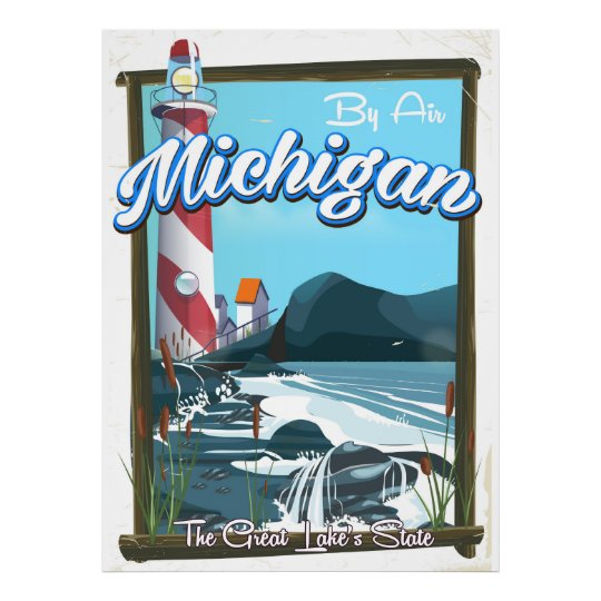 Michigan-Leuchtturmreiseplakat!. Poster