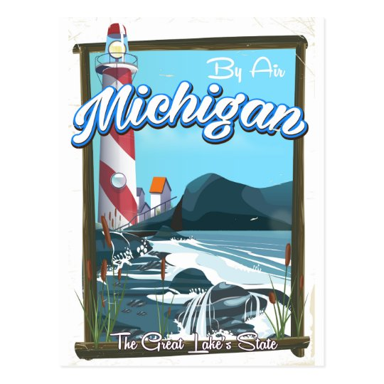 Michigan-Leuchtturmreiseplakat!. Postkarte