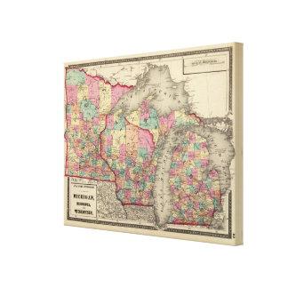 Michigan, Minnesota und Wisconsin 2 Galerie Gefaltete Leinwand