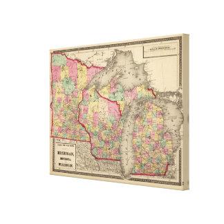 Michigan, Minnesota und Wisconsin Gespannte Galeriedrucke