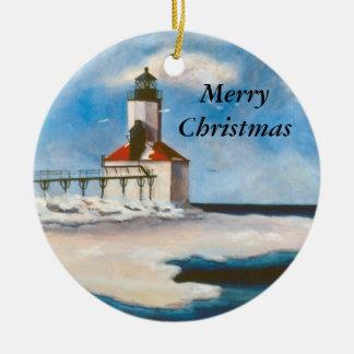 Michigan-Stadt-Licht-Weihnachtsverzierung Keramik Ornament