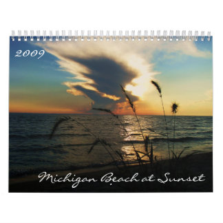 Michigan-Strand am Sonnenuntergang-Kalender Kalender