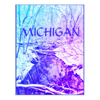 MICHIGAN-Winter-Fluss-Regenbogen-Postkarte Postkarte