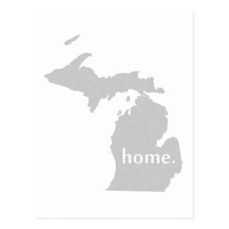 Michigan-Zuhause-Silhouette-Staatskarte Postkarte