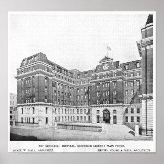 Middlesex-Krankenhaus-Architektenzeichnen Poster