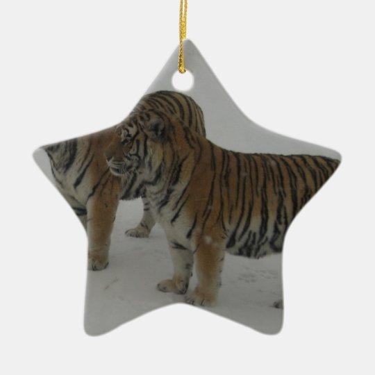 Mieten zwei sibirische Tiger Keramik Stern-Ornament