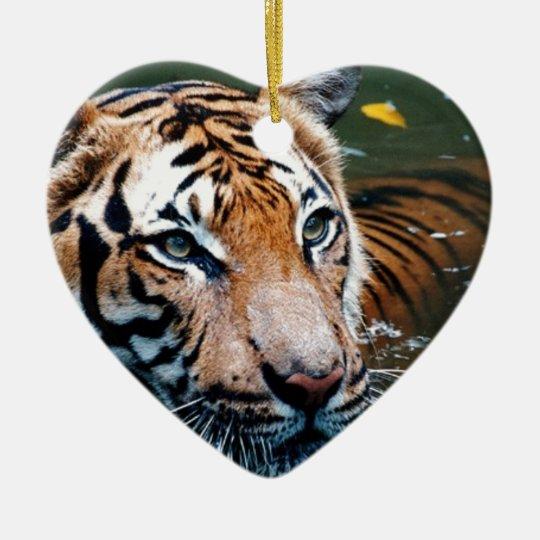 Miettiger im Wasser Keramik Herz-Ornament