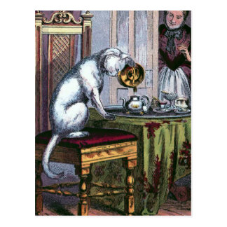 Mietze, die Tee Vintage Illustration macht Postkarte