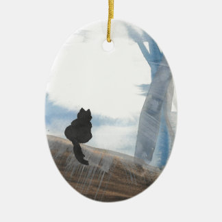 Miezekatze auf einem nebelhaften Morgen Ovales Keramik Ornament