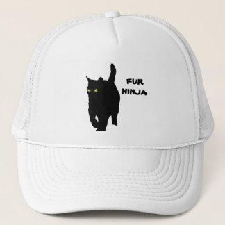 Miezekatze-Katze ist Pelz Ninja (gelbe Augen) Truckerkappe
