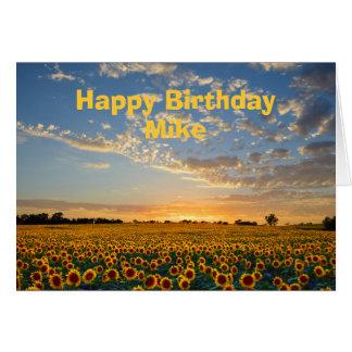 Mike-alles- Gute zum Geburtstagsonnenblumen am Karte