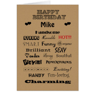 Mike-alles- Gute zum Geburtstagwörter des Lobs Karte