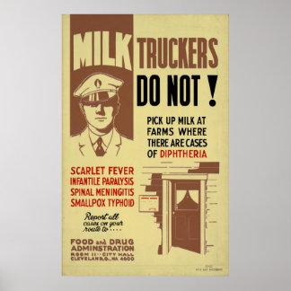 Milch-Fernlastfahrer FDA, die 1940 WPA Vintage Poster