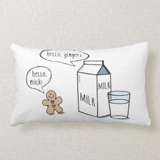 Milch-u. Ingwer-schrulliges weißes lumbales Kissen