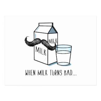 Milch-u. Schnurrbart-lustige Postkarte