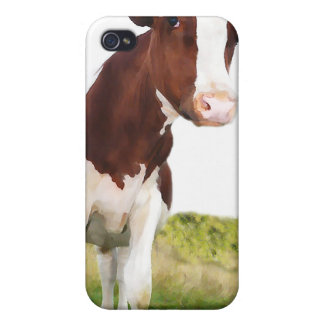 Milchkuh - gemaltes Brown u. weißes Holstein iPhone 4 Schutzhüllen