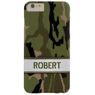 Miliary grüne Camouflage-Namen-Schablone Barely There iPhone 6 Plus Hülle