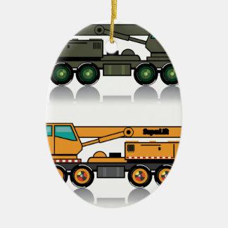 Militärischer schwerer Kran-LKW Ovales Keramik Ornament