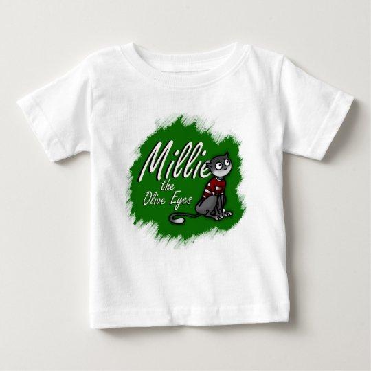 Millie die Oliven-Augen, grüner Hintergrund Baby T-shirt