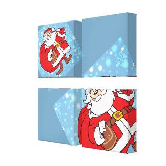 Milou Père Noël et son grand sac des cadeaux Toile Tendue Sur Châssis