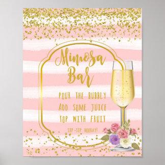 Mimosen-Bar, das rosa confetti des Zeichens Poster