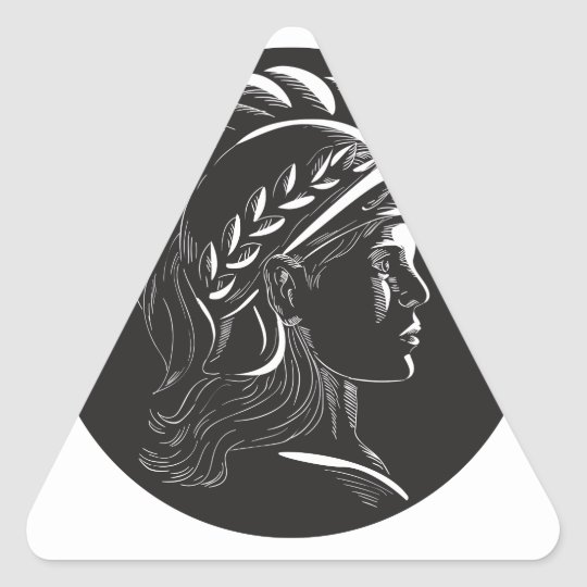 Minerva Hauptseitenprofil-Oval-Holzschnitt Dreieckiger Aufkleber