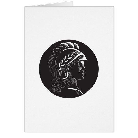 Minerva Hauptseitenprofil-Oval-Holzschnitt Grußkarte