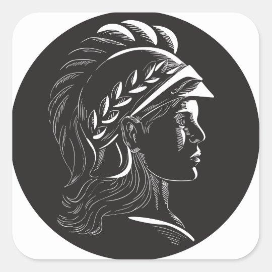 Minerva Hauptseitenprofil-Oval-Holzschnitt Quadratischer Aufkleber