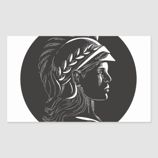 Minerva Hauptseitenprofil-Oval-Holzschnitt Rechteckiger Aufkleber