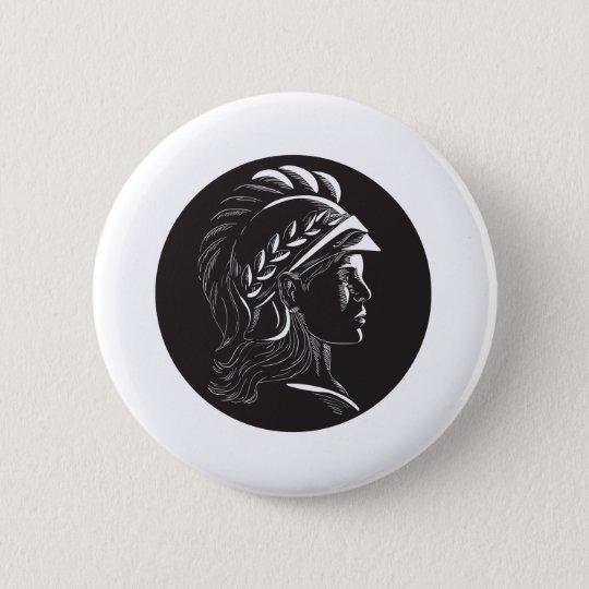 Minerva Hauptseitenprofil-Oval-Holzschnitt Runder Button 5,1 Cm
