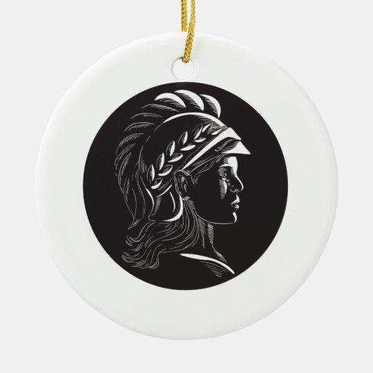 Minerva Hauptseitenprofil-Oval-Holzschnitt Rundes Keramik Ornament