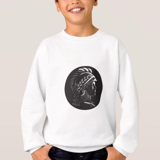 Minerva Hauptseitenprofil-Oval-Holzschnitt Sweatshirt