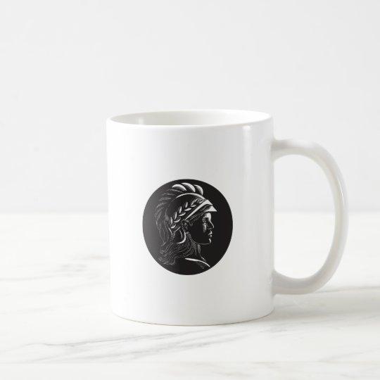 Minerva Hauptseitenprofil-Oval-Holzschnitt Tasse