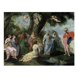 Minerva mit den Musen Postkarte