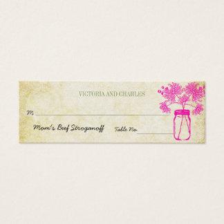 Mini Carte De Visite Menu coloré de mariage de fleur sauvage de pot de