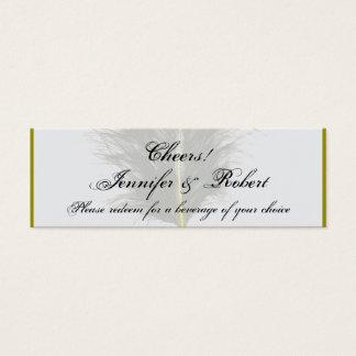 Mini Carte De Visite Or et boisson blanche Ticke de mariage de plume de