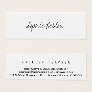Mini Carte De Visite professeur d'Anglais élégant minimaliste