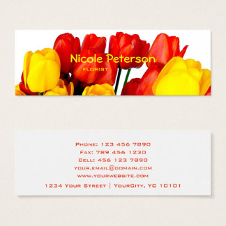 Mini Carte De Visite tulipes rouges et jaunes - fleuriste