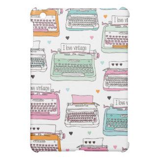 Mini cas de machine à écrire de motif d'ipad vinta
