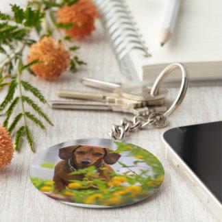Mini rote Dackel-runder Knopf Keychain Schlüsselanhänger