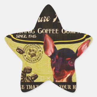 Miniaturpinscher-Marke - Organic Coffee Company Stern-Aufkleber
