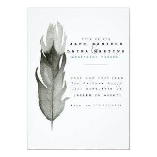 Minimale Feder-Aquarell-Hochzeit laden ein Karte