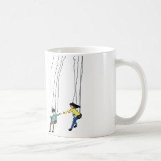 Minimale Illustration der Paare in einem Schwingen Kaffeetasse