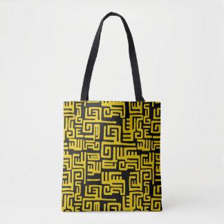 Minimaler gelber Schwarzafrikaner-Stammes- Muster Tasche