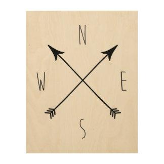 Minimaler schwarzer u. weißer Kompass Holzdrucke