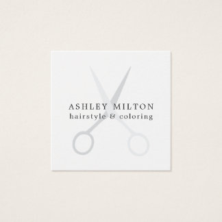 Minimales elegantes weißes Grau Scissors Quadratische Visitenkarte