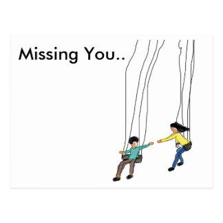 Minimales vermisstes Sie Postkarte mit