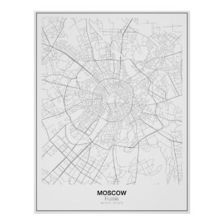 Minimalist-Karte Moskaus, Russland Poster