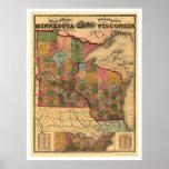 Minnesota- u. Wisconsin-Eisenbahn-Karte 1871 Poster