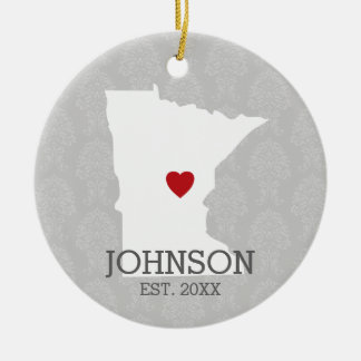 Minnesota-Zuhause-Staats-Stadt-Karte - Rundes Keramik Ornament
